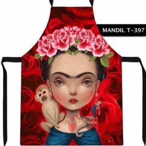 New Frida Kahlo Apron Red Roses & Monkey Folk Art